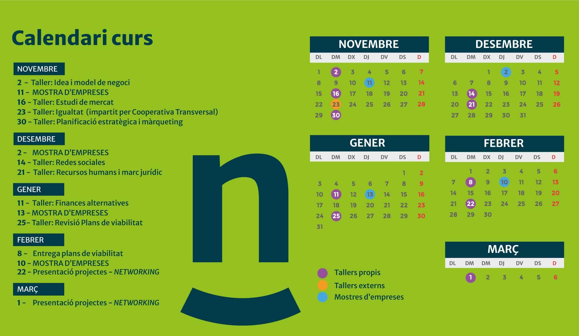 Calendari cursos